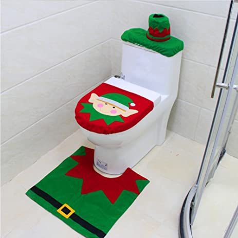 GWL Santa Toilet Seat Cover And Rug Mat Tissue Box For Bathroom Home