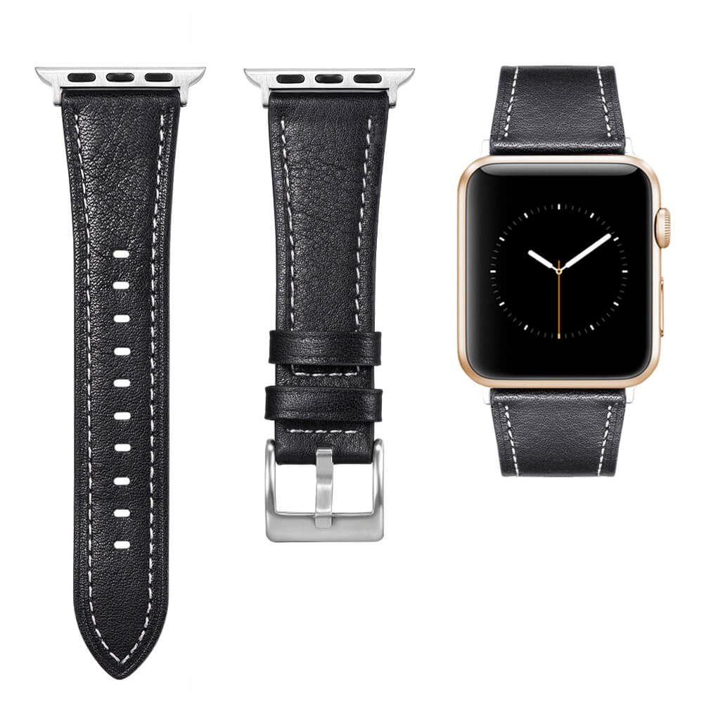 Kuzbie Apple Watch Band 38mm Leather Retro Replacement with Classic Clasp for iwatch Series 3, Series 2, Series 1, Single Tour, Hermes Edition, 38MM Black
