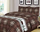 Plaid Bear Full/Queen Comforter 3 Piece Bedding Set Rustic Cabin Lodge