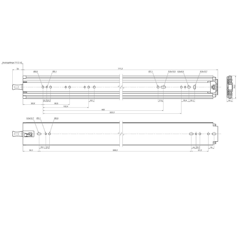 52 mit Lock-in//out Einrastfunktion belastbar bis 250 Kg Teleskopauszug Vollausz/üge von JUNKER 1 Paar Schwerlastausz/üge KV1250H76LC 1321 mm