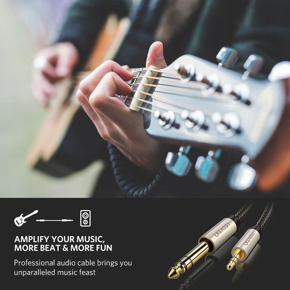 Cable 3,5mm a 6,3mm, UGREEN Cable Audio Estéreo HIFI Macho a Macho con trenza de Nylon para iPad, iPhone, iPod, Guitarras, Amplificadores, Mesas de mezclas, ...