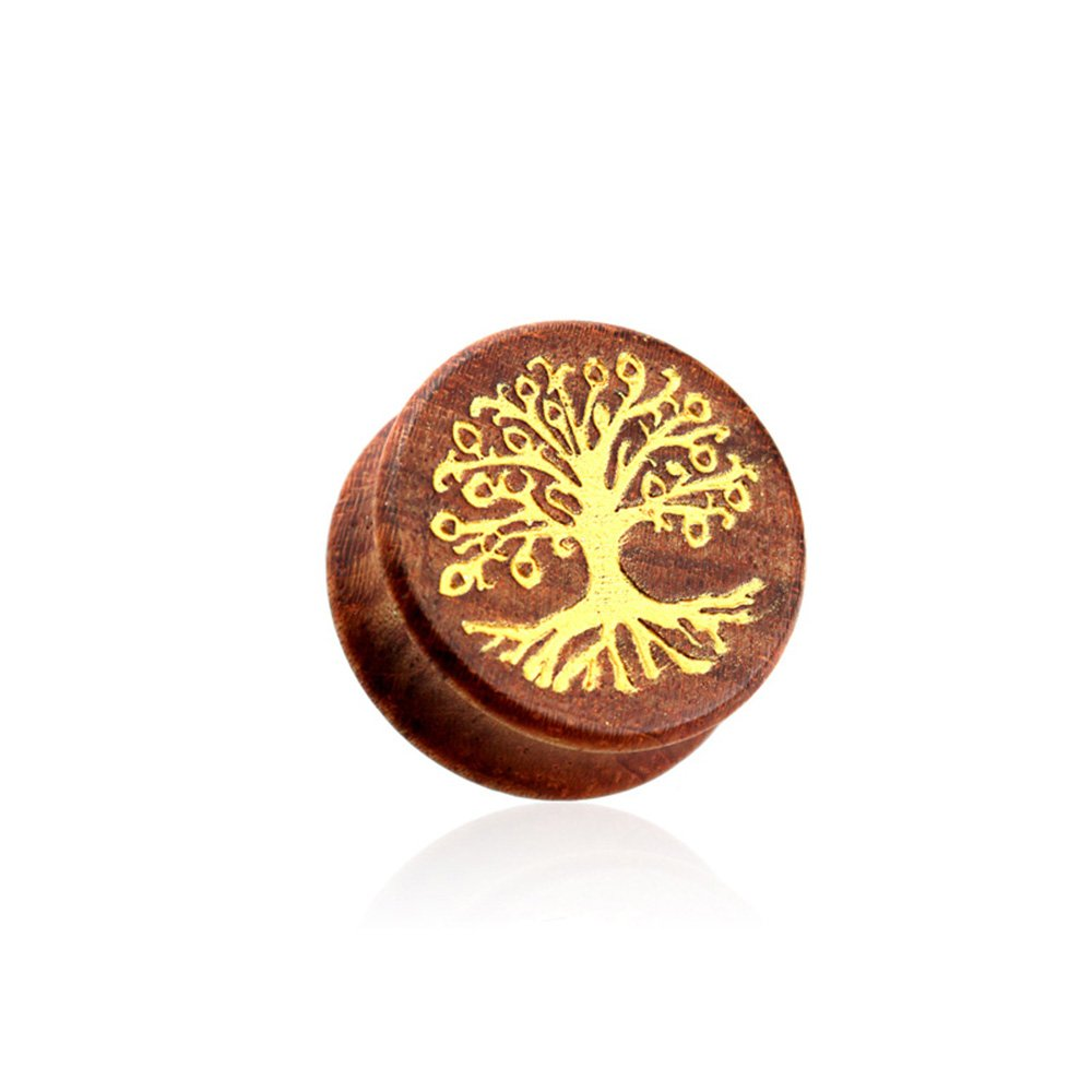 Dynamique Pair Of Double Flared Beech Wood Saddle Plugs With Gold Tree of Life Front