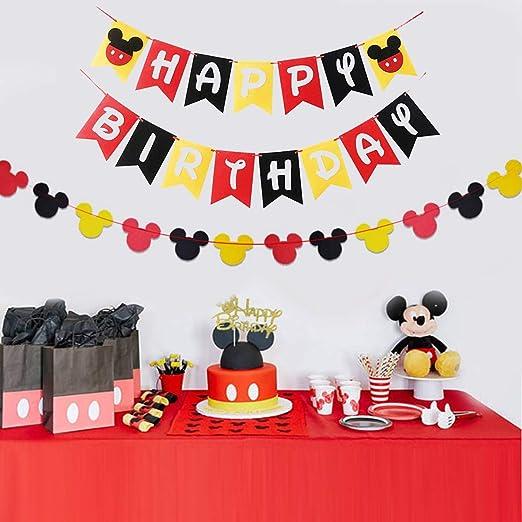U&X Banner y Guirnalda de la Fiesta de cumpleaños de Mickey, decoración de Fiesta roja, Negra y Amarilla para el cumpleaños de los niños