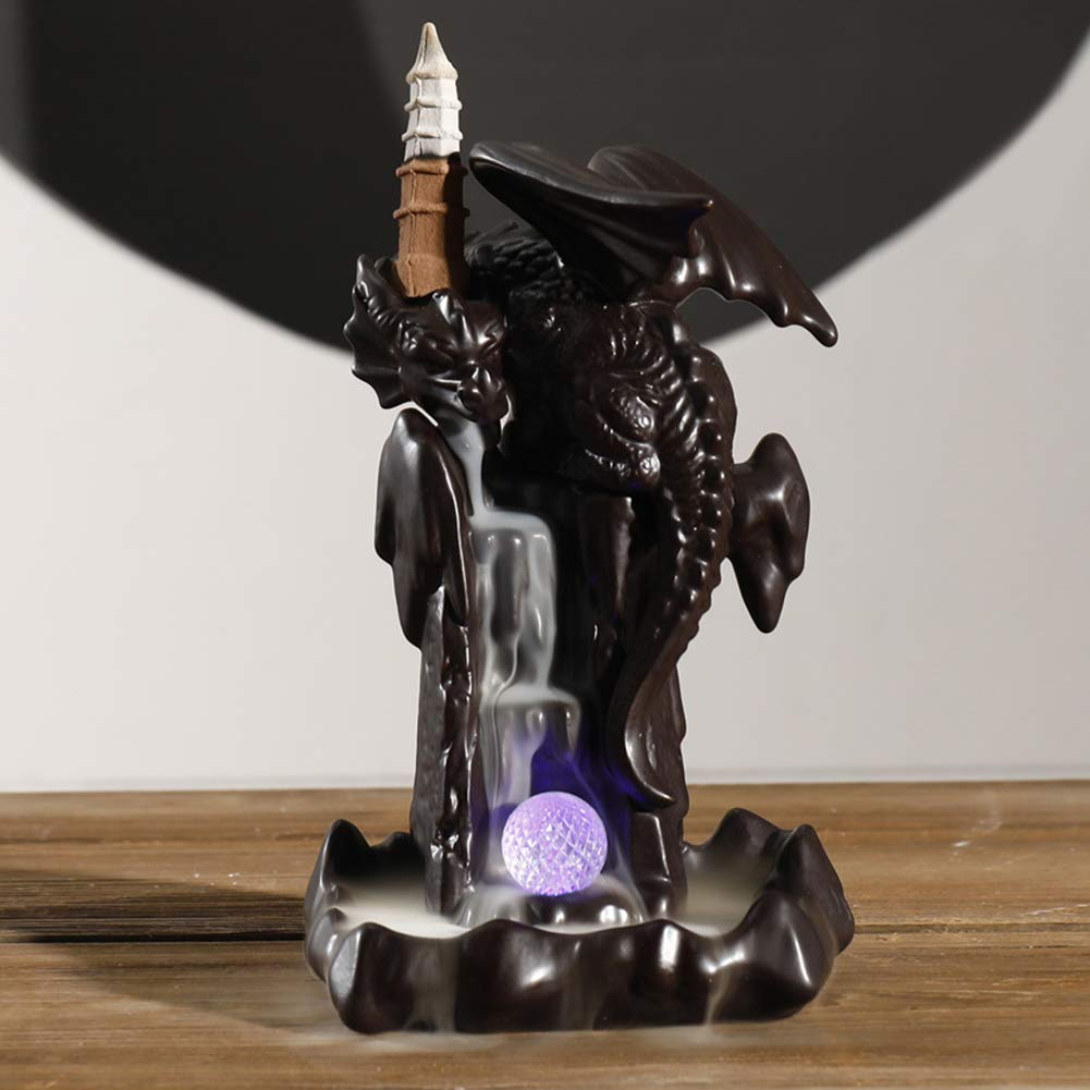 SPACEKEEPER Ceramic Dragon Backflow Incense Burner Incense Holder with 100 Backflow Incense Cones Free + 30 Incense Stick Aromatherapy Ornament Home Decor by SPACEKEEPER (Image #2)