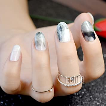 fashion white marble design finished nail art tips oval tip short full wrap fake press on