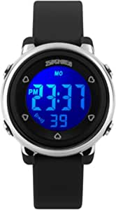 SKMEI Kids Digital Waterproof Watch, Boys Girls Sport Outdoor Multifunction Watches Colorful LED Children Wristwatches with Alarm Stopwatch