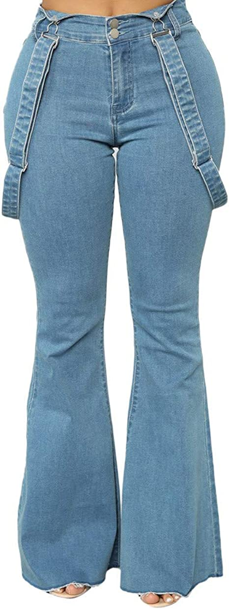 Womens Bib Overalls Pants Bell-Bottom Jeans High Waist Zipper Trousers Detachable Strap Elastic Skinny Denim Pants