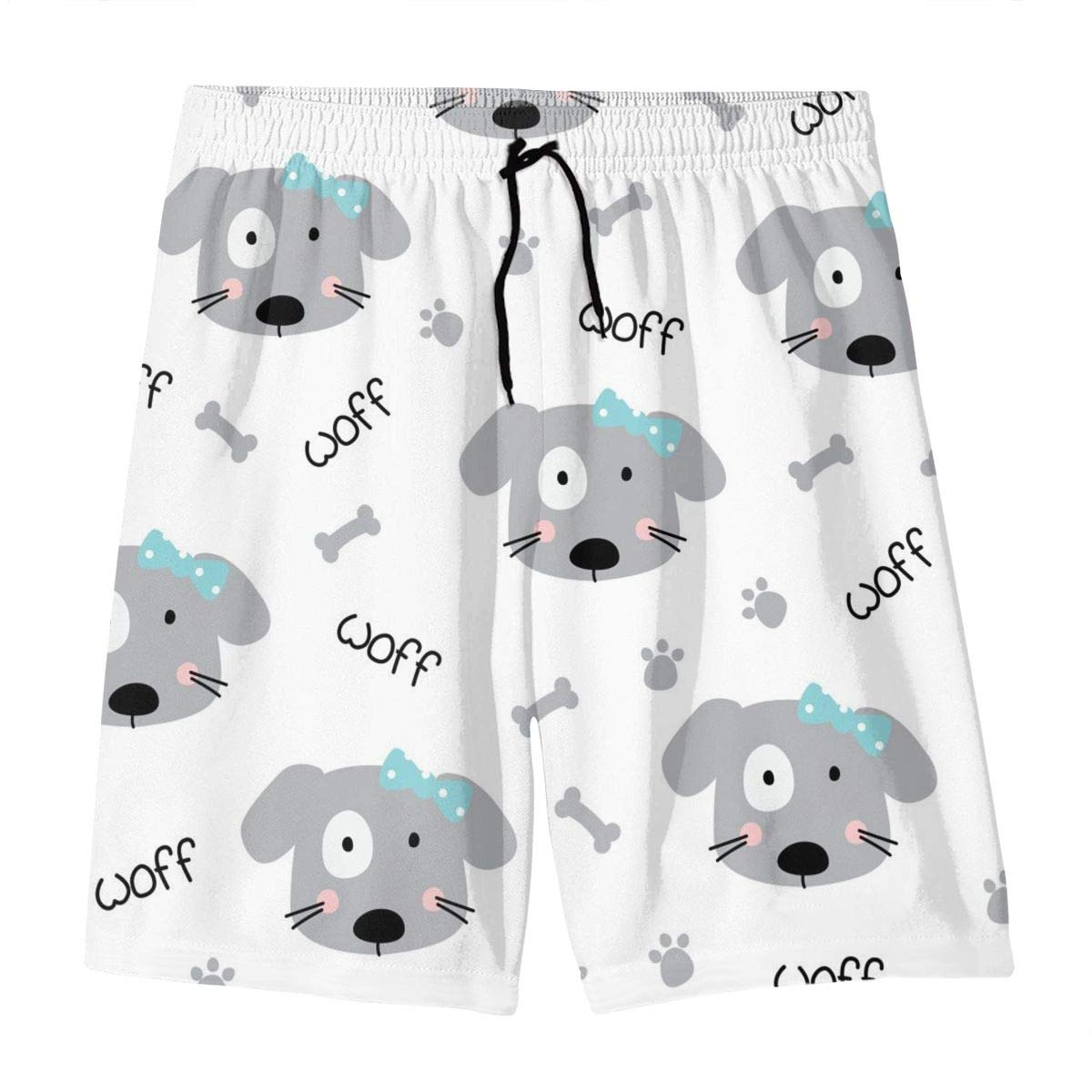 Mens Swim Trunks Cute Doodle Dogs Pattern Printed Beach Board Shorts with Pockets Cool Novelty Bathing Suits for Teen Boys