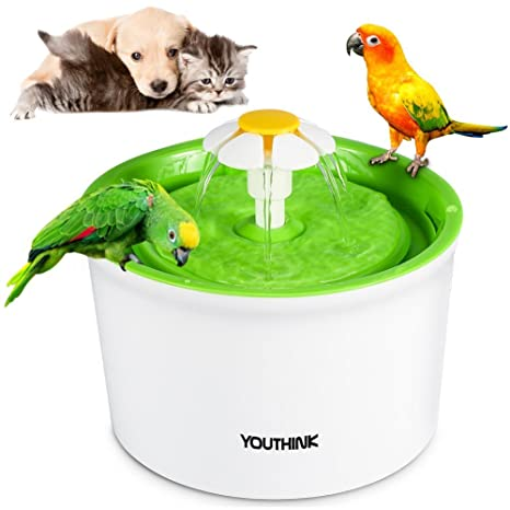 Automático 901100 – Fuente para gatos y perros con 3 filtros 2 Flores Boquilla 1 Silicona Matte mascotas Dispensador de agua näpfe sin BPA, 1.6L, Azul