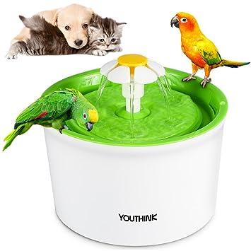 Automático 901100 - Fuente para gatos y perros con 3 filtros 2 Flores Boquilla 1 Silicona Matte mascotas Dispensador de agua näpfe sin BPA, 1.6L, ...