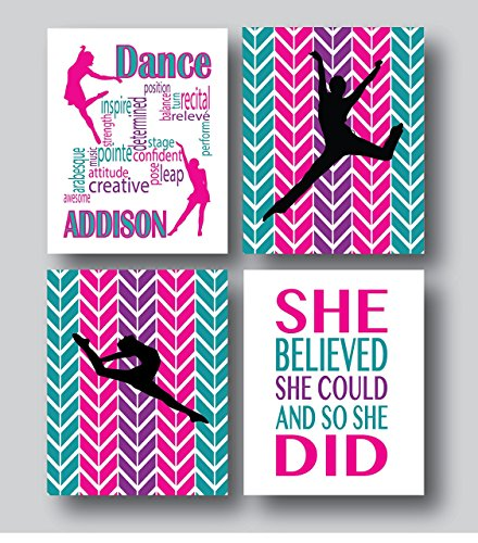 Personalized Dance Gifts For Girls, Dance Prints And Posters, or Dance Prints Only, Dance Decor For Girls Room