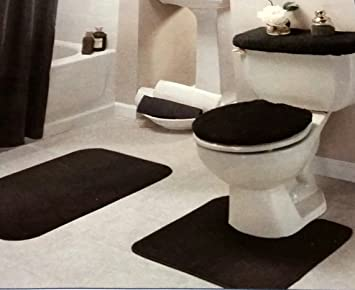 bathroom rug set. Black Bathroom Rug Set 4 Pc Amazon com  Home Kitchen
