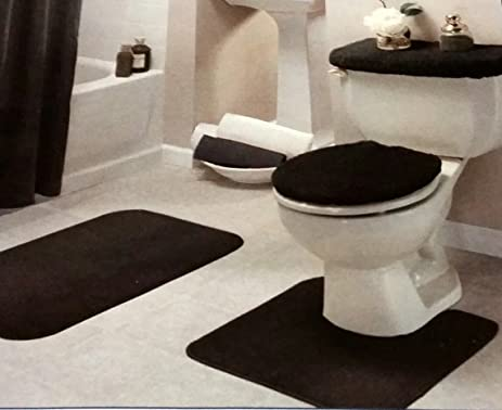 Superior Black Bathroom Rug Set 4 Pc