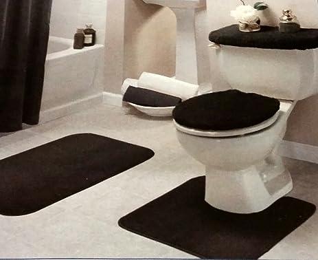 Amazoncom Black Bathroom Rug Set Pc Home Kitchen - Black bathroom rug set for bathroom decor ideas