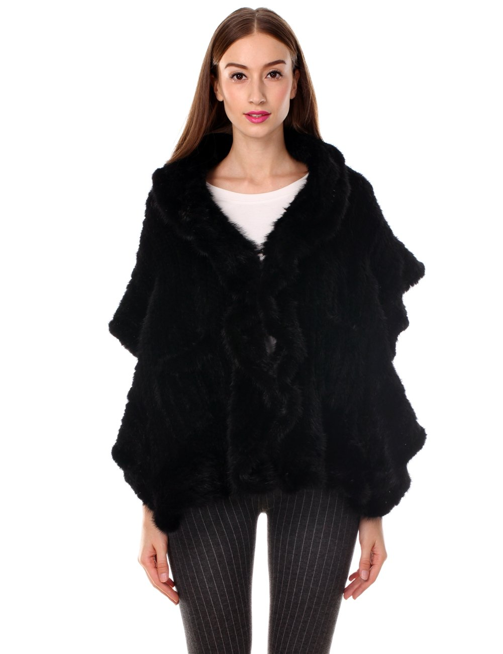 Ferand Knitted Real Mink Fur Ruffled Shawl Stole with 2 Pockets for Women, Black