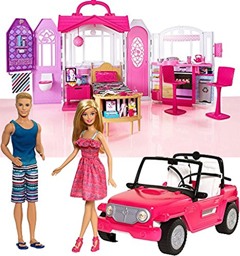 Bundle Includes 2 Items - Barbie Glam Getaway House and Barbie Beach Cruiser and Ken Doll