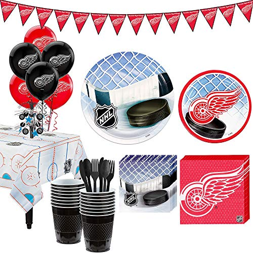 Party City Super Detroit Red Wings Party Kit for 16 Guests, Includes Table Cover, Decorations and Tableware]()