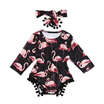 70b0e2117 Image Unavailable. Image not available for. Color: Newborn Infant Baby  Girls Long Sleeve Flamingo Tassel Romper Bodysuit with Headband Outfit  Clothes