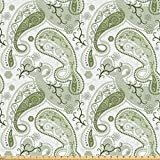 Lunarable Paisley Fabric by The Yard, Pastel Color Scheme with Swirls and Lines Floral Arrangement Lace Pattern, Microfiber Fabric for Arts and Crafts Textiles & Decor, 1 Yard, Pale Green White