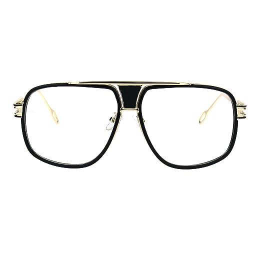 2d06bf598b Mens Clear Lens Glasses Retro Hipster Flat Top Square Eyeglasses Gold Black