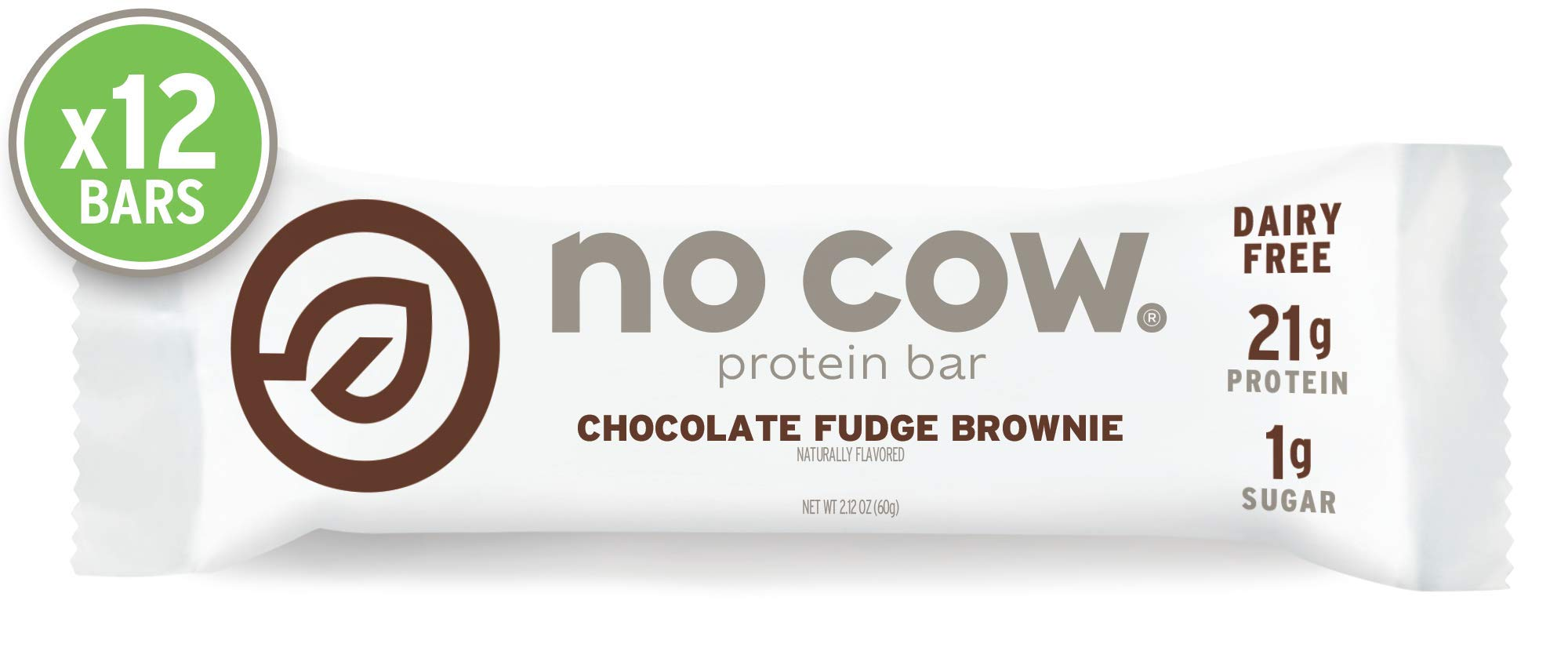 No Cow Protein Bar, Chocolate Fudge Brownie, 21g Plant Based Protein, Keto Friendly, Low Sugar, Dairy Free, Gluten Free, Vegan, High Fiber, Non-GMO,  12 Count by No Cow