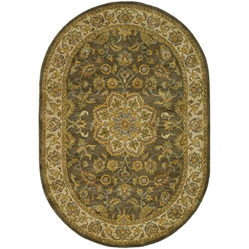 (Safavieh Heritage Collection HG954A Handcrafted Traditional Oriental Green and Taupe Wool Oval Area Rug (4'6
