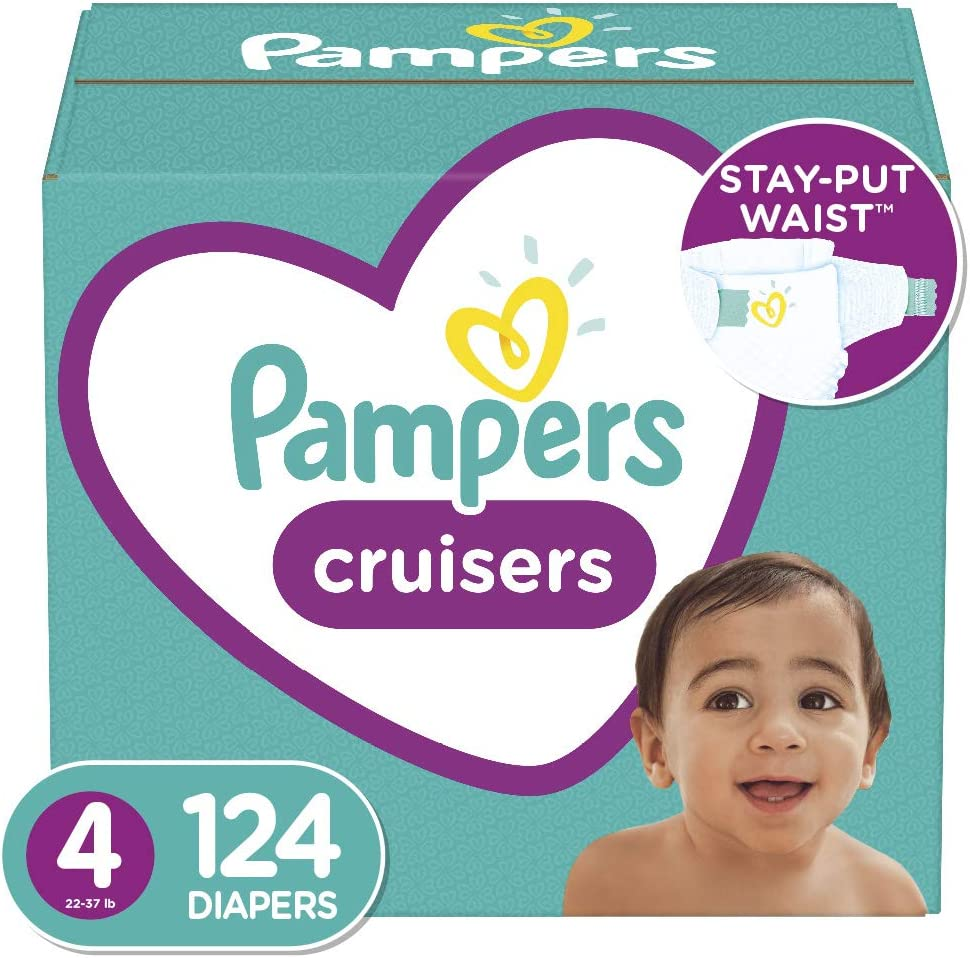 Diapers Size 4 Enormous Pack 124 Count Pampers Cruisers Disposable Baby Diapers