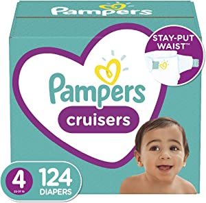 Diapers Size 4, 124 Count - Pampers Cruisers Disposable Baby Diapers, Enormous Pack