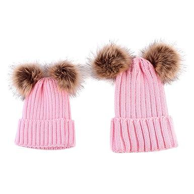 Tpulling Bonnet Bebe, 2pcs Maman bébé Tricot Pom Bobble Hat Chapeau Hiver  Chaud Bonnet ( 3f55713780f