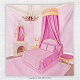 59 x 59 Inches Teen Girls Decor Fleece Throw Blanket Interior of Magic Princess Bedroom Old Fashioned Ornament Pillow Lamp Mirror Blanket