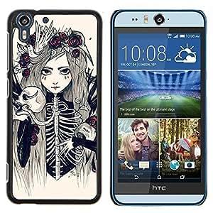 Stuss Case / Funda Carcasa protectora - Esqueleto de la muchacha mujer de la novia floral - HTC Desire Eye M910x