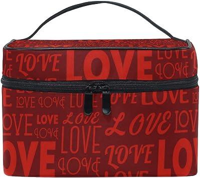 Bolsa de Maquillaje portátil Carta de Amor Día de San Valentín Bolsas de artículos de tocador cosméticos de Viaje Estuche de Maquillaje Bolsa para Mujeres Damas Niñas: Amazon.es: Equipaje