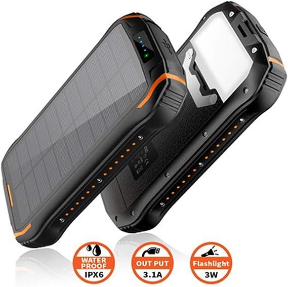 Naack Cargador Solar móvil acuatico IP66 Batería Portátil Power ...