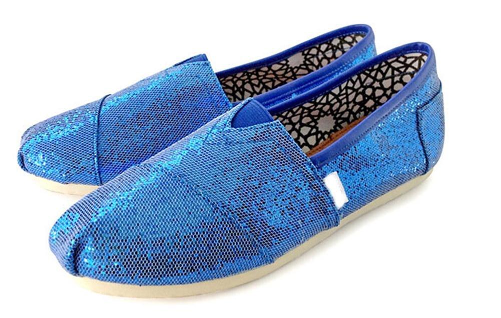 Playworld Womens Classic Sequin Slip On Shoes Ballerina Ballet Flats Loafers B01BS50AR8 8 B(M) US|Royal