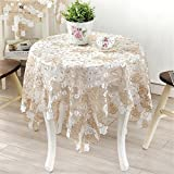 TaiXiuHome Classic European Style Lace Floral Embroidery Elegant and Graceful Tablecloth Top Decoration Square approx 33x33 inch (85x85cm)