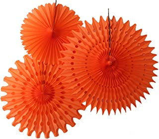 product image for Set of 3 Tissue Paper Fans, Orange (13-21 Inch)