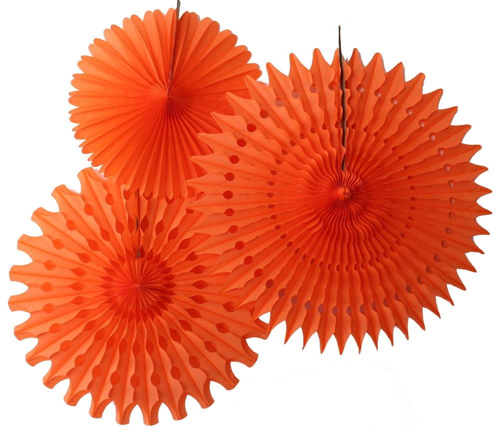 Hanging Honeycomb Tissue Fan, Orange, Set of 3 (13 inch, 18 inch, 21 inch)