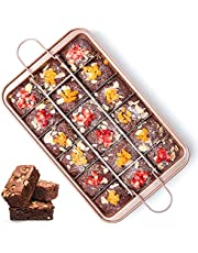 Non Stick Brownie Pans with Dividers, High Carbon Steel Baking Pan, Removable Bottom Brownie Pan