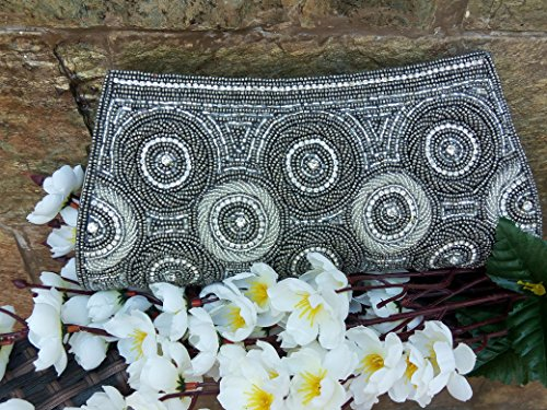 Vintage Gray Beaded Sequin Wallet/Indian Bridal Clutch/Vintage style Purse/Vintage Coin Purse/Snap Wallet/Embroidery Wallet/Money Pouch/Handmade Bag