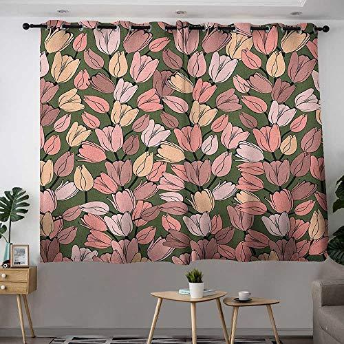 (Zodel Extra Wide Patio Door Curtain Flower Pattern with Retro Tulips Springtime Garden Park Seasonal Nature Stylized Art Darkening Thermal Insulated Blackout W 63