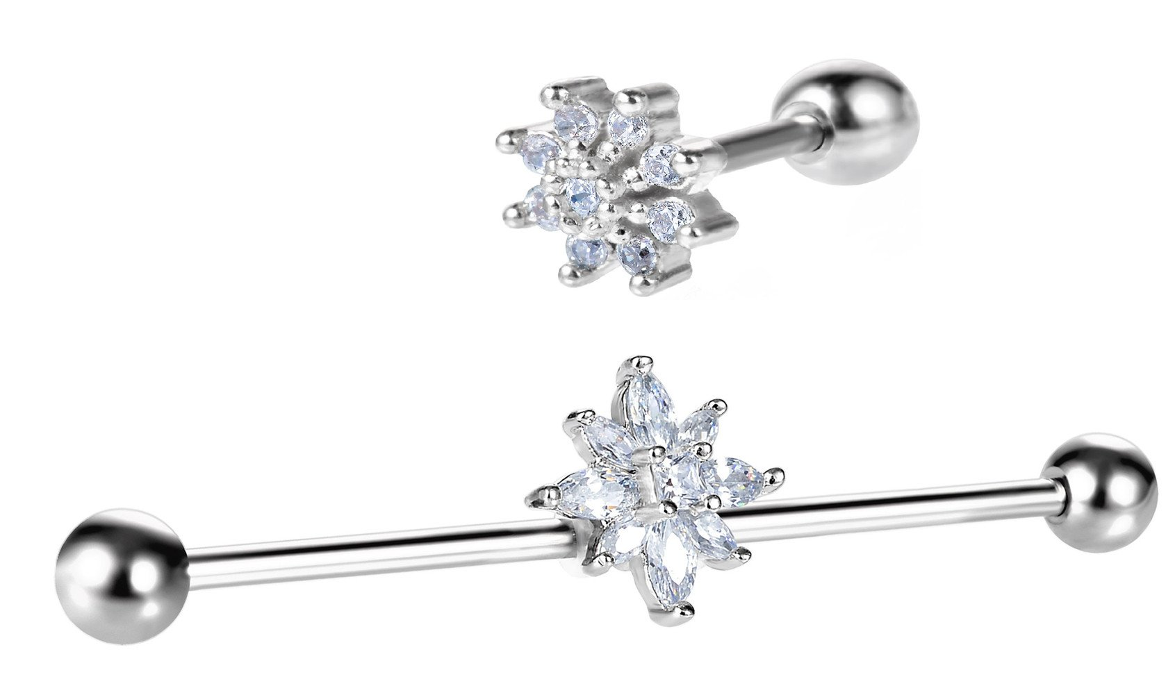 C&L Clear CZ Gem Industrial Barbell Earring and Tragus stud Earring Cartilage Body Piercing Jewelry set of 2