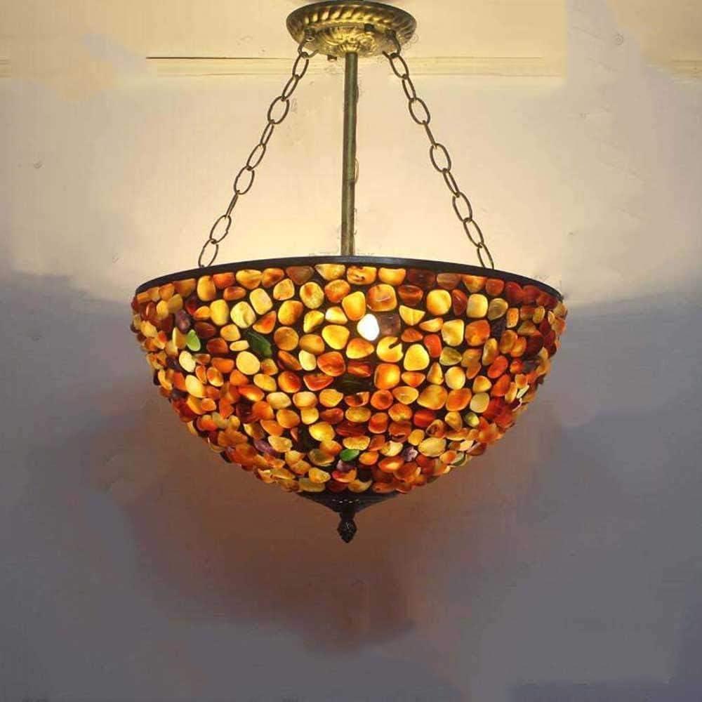 DALUXE Luz de Tiffany Colgante, Vintage Techo de Piedra Colgante de ágata, arañas de Bronce, el Contador de la Isla de la Cocina de la Sala,40 cm