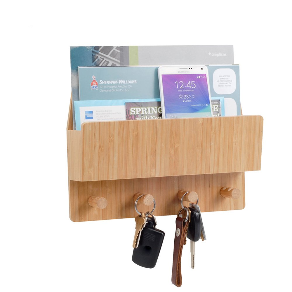 MobileVision Bamboo Mail & Letter Wall Mount Organizer with Key Hooks for Entryways, Hallways, Offices, Kitchens and more CE Supply 1851AA