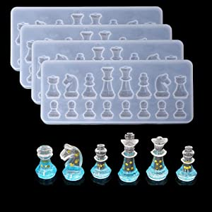 SYWAN 4pcs Chess Pieces Silicone Mold Epoxy Resin Craft Mold,3D International Chess Silicone Resin Molds for DIY Clay Cake Art Craft Gift Home Decoration