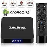 TV Box Android 9.0,Android TV BOX Leelbox Con Telecomando Vocale,Q4 RK3328 Quad Core 64 bit 4 GB RAM 32 GB ROM Smart TV BOX, Wi-Fi integrato, Uscita HDMI, Box TV UHD 4K TV
