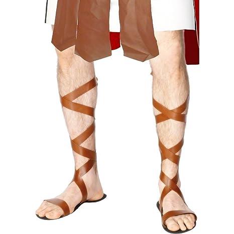Sandali romani con stringhe calzature per travestimento da legionario romano accessori costume di Carnevale MRpDPiksf9