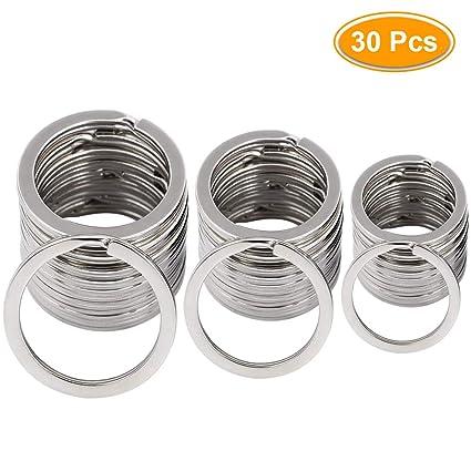 Llaveros con anillas de metal para llavero, 3 tamaños de llaveros, 30 unidades