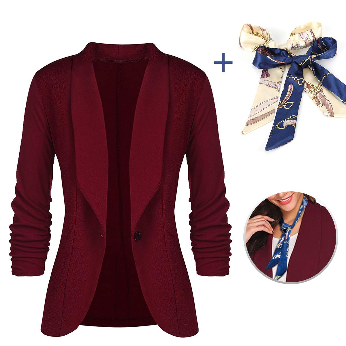 LATH.PIN Women Blazer 3/4 Sleeve-Stretch Open-Front Casual Cardigan Jacket Lightweight Work Office Blazers (Wine Red, S)