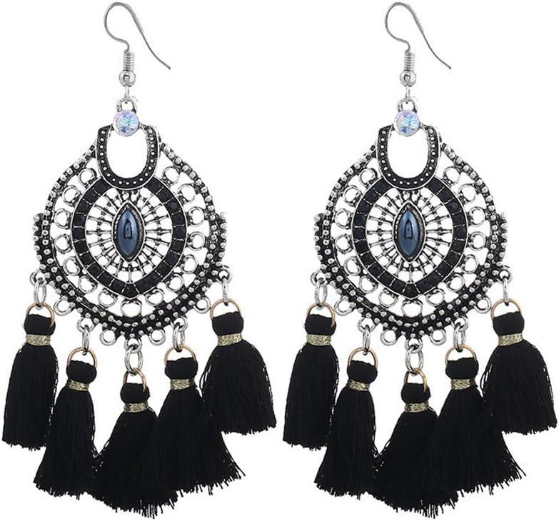 Emorias 1Pair Pendientes Vintage de Diamantes Estilo Nacional Piedras Preciosas Borla Pendiente de Perno Pendientes de Mujer de Moda Joyería Accesorios - Negro
