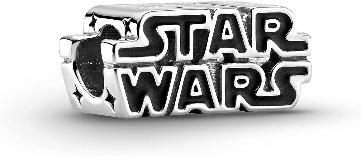 PANDORA Star Wars, Silver 3D Logo, Black Charm